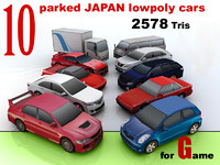 10 lowpoly JAPAN car collection