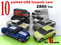 10 lowpoly USA car collection