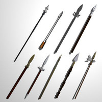 set 15 medieval spears 3d 3ds