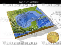 Gulf Of Mexico, High Resolution 3D Relief Map