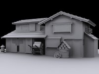 japanese cart house 3d max