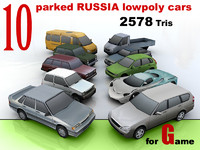 10 lowpoly RUSSIA car collection