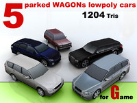 5 parked WAGON lowpoly cars