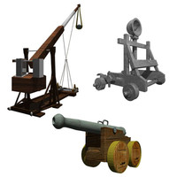 Medieval Catapults & Canon (high poly)