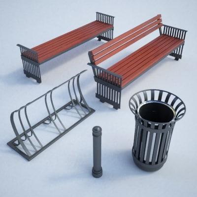 3d model set street furniture bench