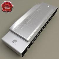 harmonica details modelled 3d model