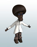 3d rigged character afro guy