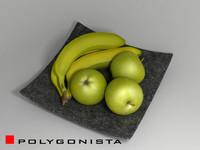 fruit plate 3d 3ds
