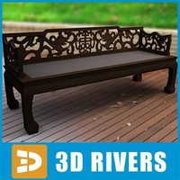 Wooden Chinese bench by 3DRivers