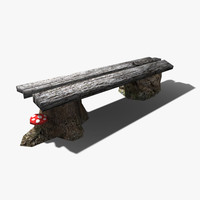 low-poly bench 3d model