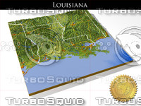 Louisiana, High resolution 3D relief maps