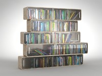 Books with futuristic books shelves