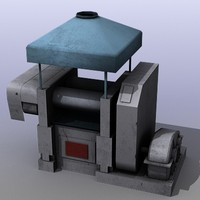 low-poly industrial machine 3d model