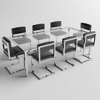 Chrome, Glass, Leather Table & Chairs - Vray & Mental Ray Materials