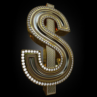 3d luxurious dollar golden