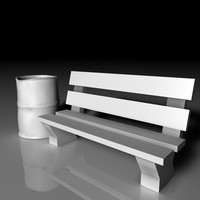 park bench trash 3d model