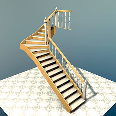 3d interior stairs escaleras for Escaleras 3d max