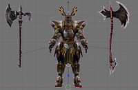 knight axe 3d blend