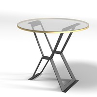 baker bill sofield 4057 modern contemporary flat iron round glass table side cocktail coffee