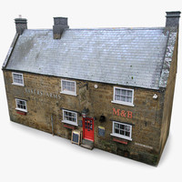 3d english village pub model