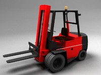 Forklift - high lift vehicle - Red Vray materials