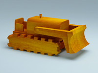 3D model of wooden toy bulldozer