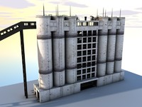 cement silo 3d 3ds