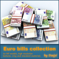euro bills collections 3d max