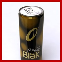 3d coca cola black tin model