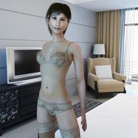 young female rigged woman 3d model