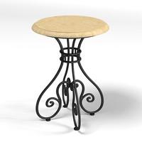 hickory white table 3d model