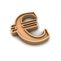 Euro currency gold sign 02
