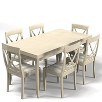 country style dining 3d model