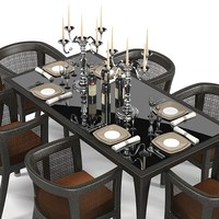 Dedon modern dining table chair armchair set tableware  appointments