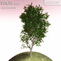 3d tree high-poly leaves model
