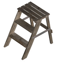 ladder step wood 3d model