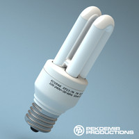 fluorescent light bulb e27 3d obj