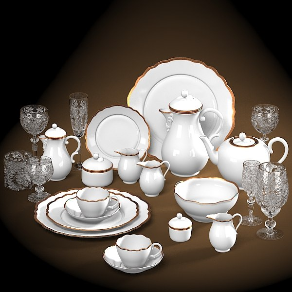 dinner service set tableware vinatge dining cup pot glass coffe plate