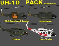 3d max uh-1d huey rigged