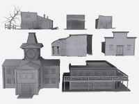 7 building ghost town 3d model