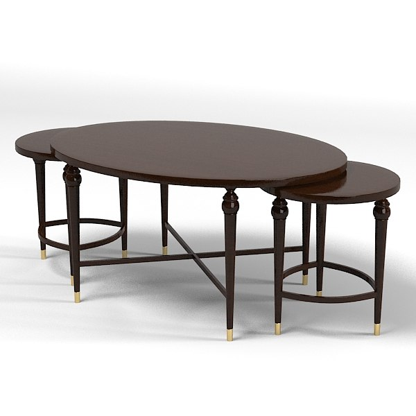 Oval Coffee Table Nest: Hickory White Cocktail 3d 3ds