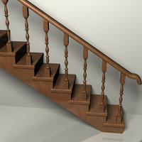 stairs wooden 3d model