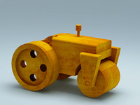 3D model of wooden toy steam roller