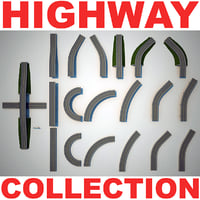 highway set modelled 3d model