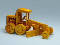 3D model of wooden toy road grader