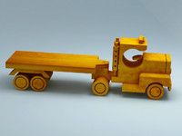 3D model of wooden toy truck with trailer
