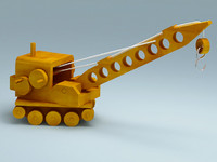 3D model of wooden toy crane