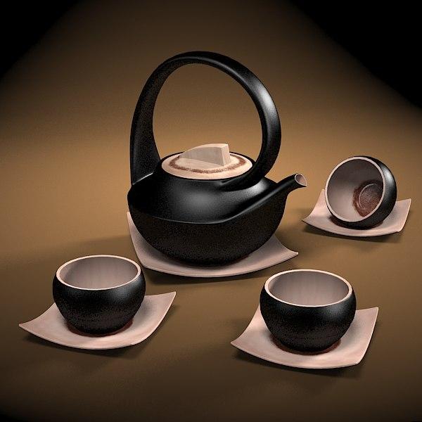 japan tea set 3d max. Black Bedroom Furniture Sets. Home Design Ideas