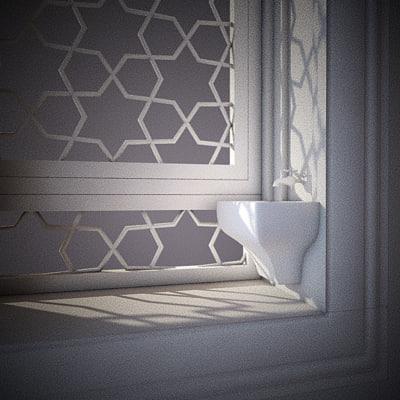 Ottoman palace window 3d model for Window 3d model