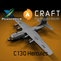 3d model pre-rigged c-130 hercules craft